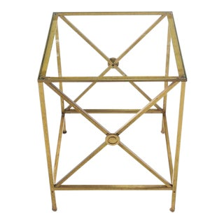 Forged Brass Cube Shape X Base Side End Table