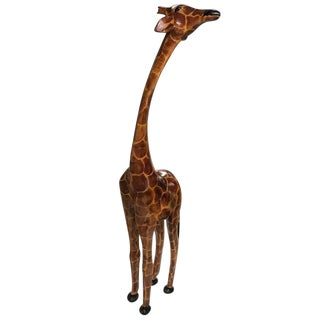 Tall Hand-Carved Wood Standing Giraffe