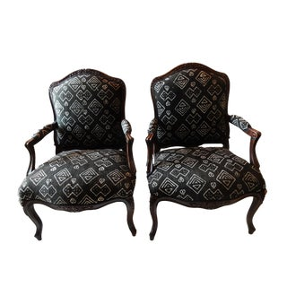 Old French Armchairs w/ African Mudcloth - a Pair