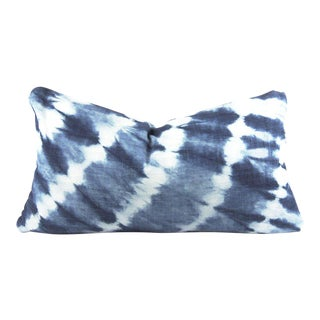 Blue Shibori African Mudcloth Small Lumbar Pillow