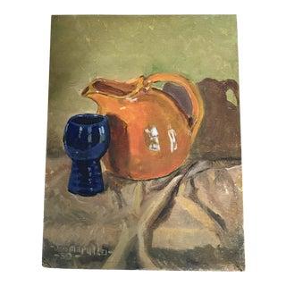 Vintage Still Life Painting on Canvas Signed Joe Marullo 59'