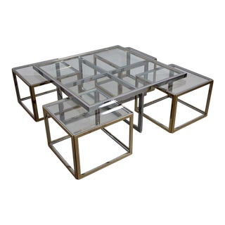 Maison Charles Brass Coffee Table with Four Nesting Tables