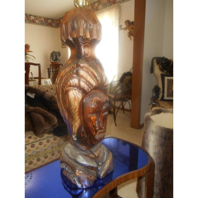 Hand Carved Mid-Century Face Table Lamps - Pair - Image 8 of 8