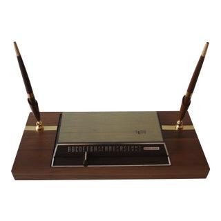 Vintage Walnut Desk Pen & Rolodex Set
