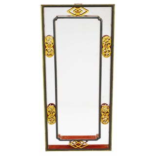 Vintage Chinese Red & Gold Accented Mirror