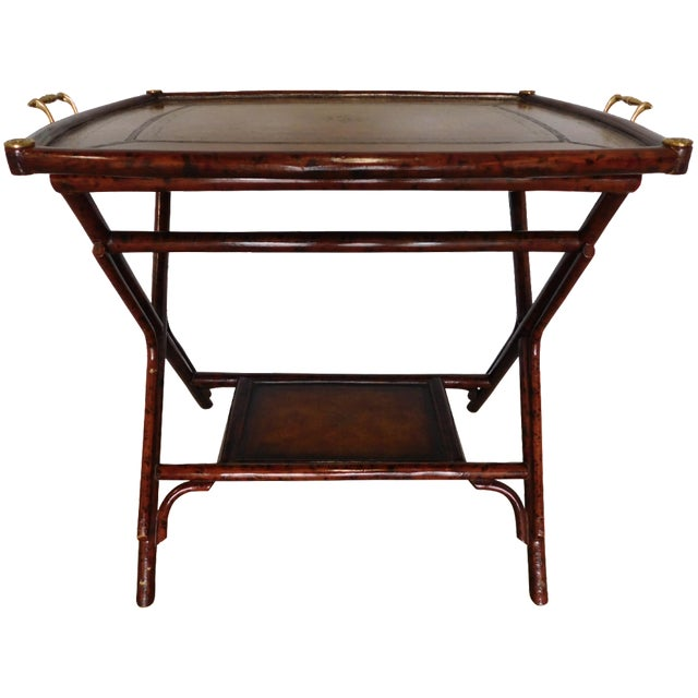 Bamboo Plant On Table: Vintage Maitland Smith Serving Bamboo Table Tray