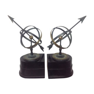 Armillary Brass & Patinated Metal Bookends