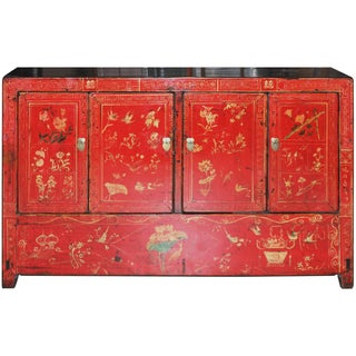 Four-Door Red Lacquered Wedding Buffet