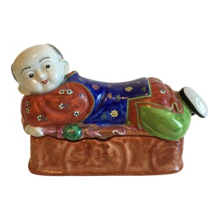 Lidded Porcelain Box With Asian Man Figure