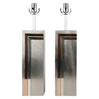 Pierre Cardin Brushed Aluminum Lamp - Pair