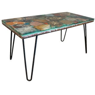 Geode Specimen Table with Hairpin Legs