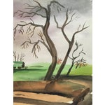 Image of 1950's Double Sided Gouache Landscape Painting