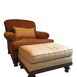 Custom Camel Corduroy Chair and Ottoman