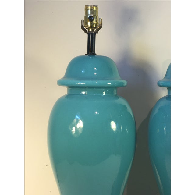 Image of Vintage Turquoise Ginger Jar Lamps - A Pair