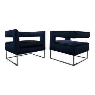 Thayer Coggin Mid-Century Chrome & Velvet Open Back Cube Chairs