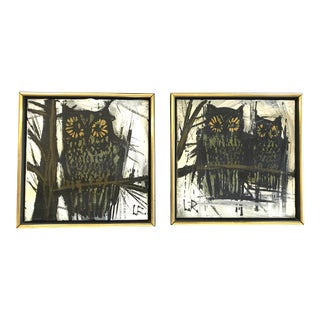 1970s Stylized Owl Paintings - a Pair