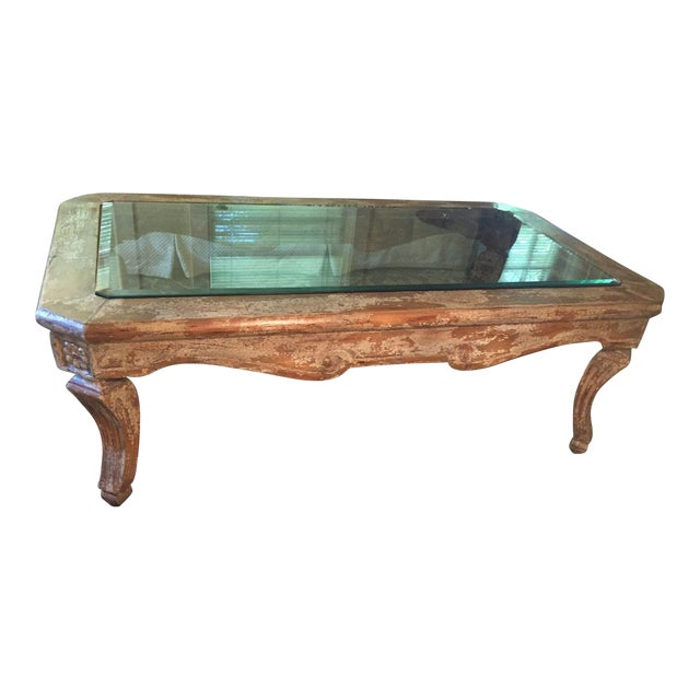 French Country Distressed Coffee Table: Inset Beveled Glass Top Distressed Coffee Table
