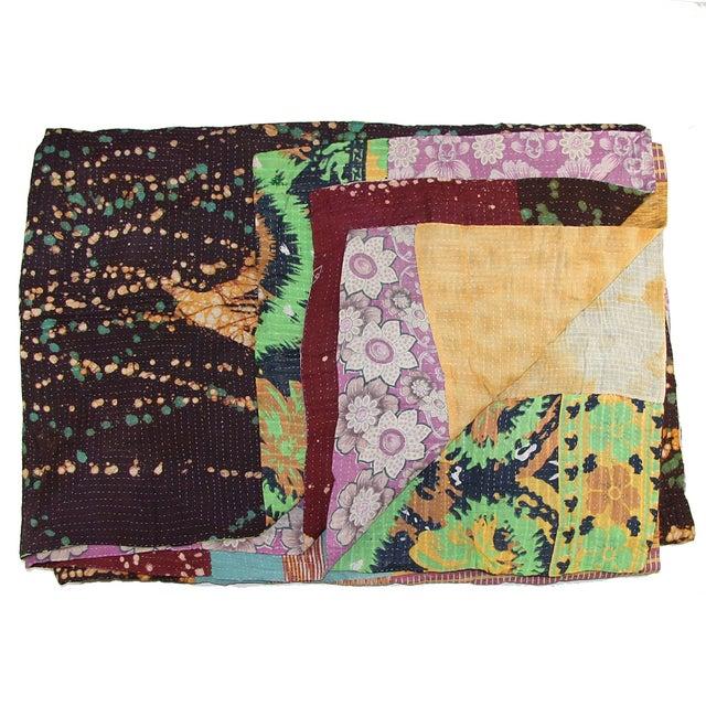 """Vintage Kantha Quilt 62"""" x 84"""" - Image 1 of 3"""