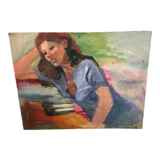 Woman With Books Oil Painting