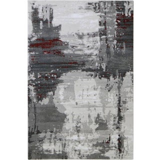 Contemporary Abstract Gray Rug With Red Stripes - 8'x 11'5""