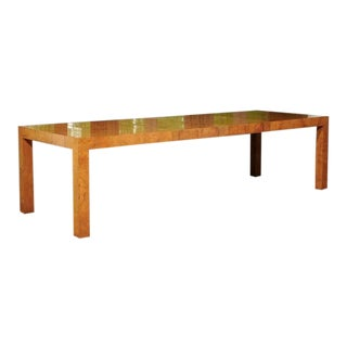 Outstanding Extension Dining or Conference Table in Bookmatched Olivewood