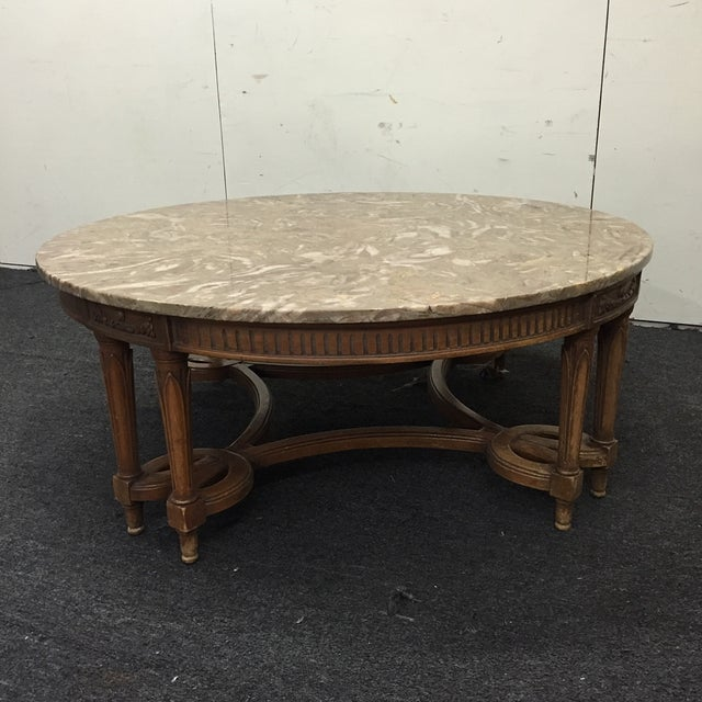 Round Coffee Tables With Marble Top: Round Gray Marble Top Coffee Table