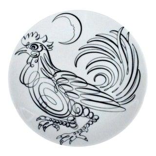Piero Fornasetti Porcelain Uccelli Calligrafici Bird Plate, Circa 1962,