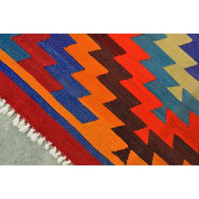 Hand Woven Turkish Kilim Rug - 6′9″ X 9′4″ - Image 3 of 10