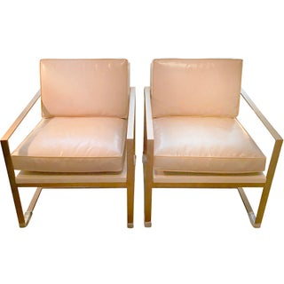 Redford House Leather With Gold Metal Frame Manhattan Lounge Chairs - a Pair