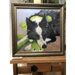 "Image of ""Border Collie's Got a Baby"" Oil on Canvas Painting"