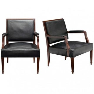 Vintage Jacques Adnet Style Armchairs - A Pair