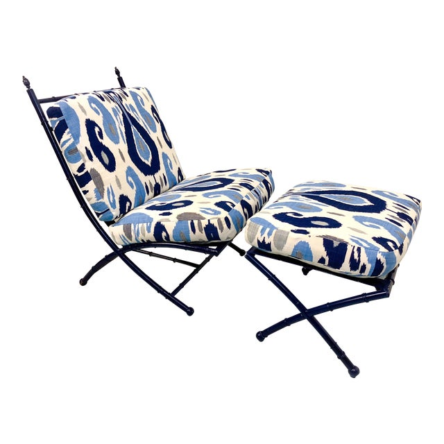 Faux Bamboo Chaise in Ikat - Image 1 of 5