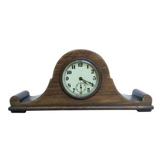 Vintage Tabletop Clock Mounted in Wood Base