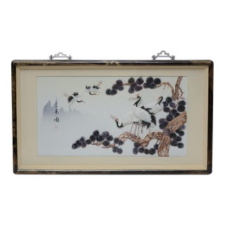 Chinese Mother of Pearl Red Crowned Cranes Panel