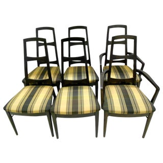 Mid-Century Black Teak Dining Chairs - Set of 6