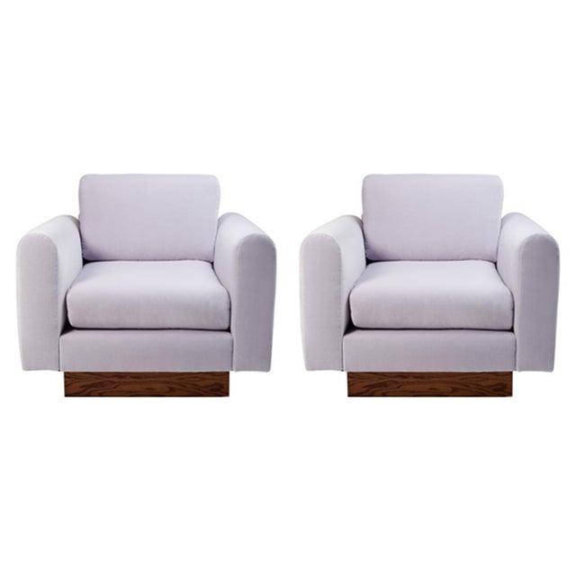 Harvey Probber Lavender Velvet Club Chairs - Pair - Image 1 of 10