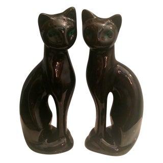 Mid-Century Black Siamese Cat Statuettes - A Pair