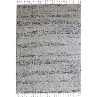 Fluffy Plush Abstract Ivory Rug - 5'3''x 7'7''
