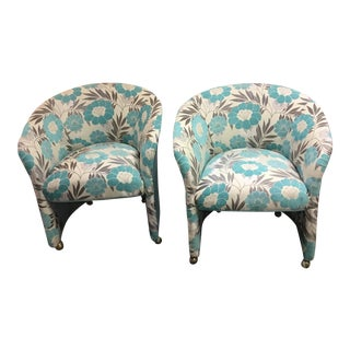 Mid Century Floral Aqua Club Chairs - a Pair