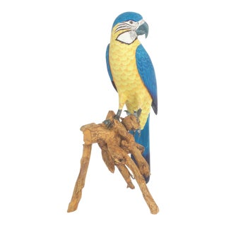 Carved and Painted Blue Parrot