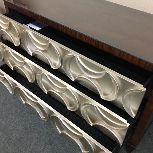 Caracole Rosewood & Silver Tie One On Three Drawer Chest - Image 7 of 11