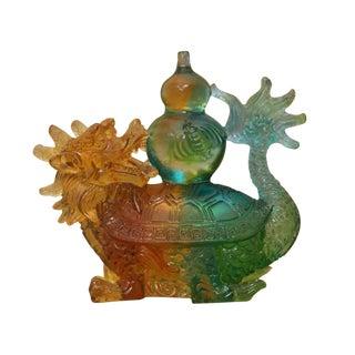 Crystal Glass Liuli Pate-de-verre Dragon Turtle Carry Vase Feng Shui Statue