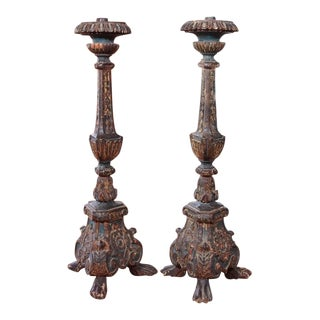 19th Century Italian Polychrome Candlesticks - Pair