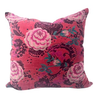Floral Cotton Velvet Throw Pillow