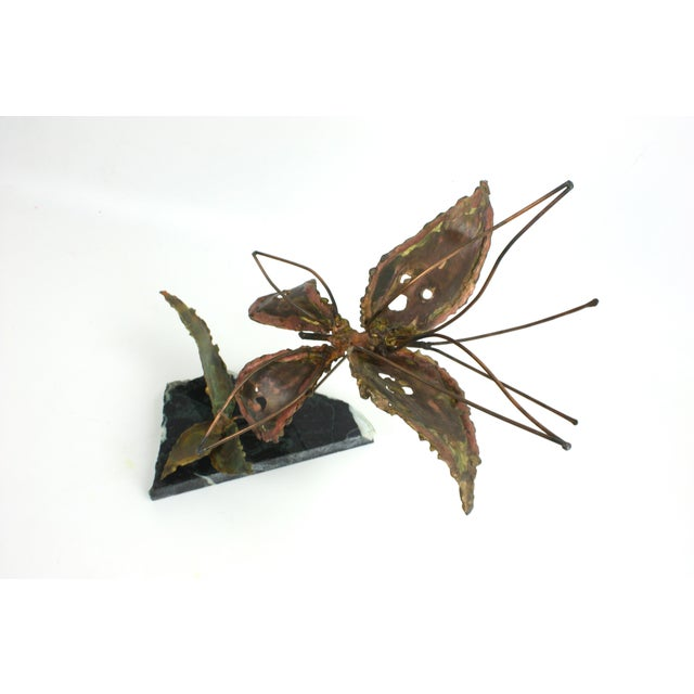 Copper Kinetic Butterfly Sculpture - Image 4 of 6