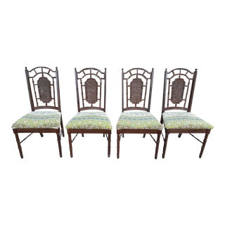 1970s Faux Bamboo Dining Chairs - Set of 4