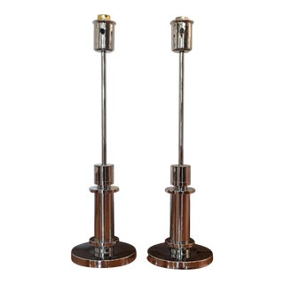 Mid-Century Chrome Cylindrical Lamps - Pair