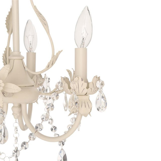 Crystal & Floral White Chandelier - Image 3 of 4