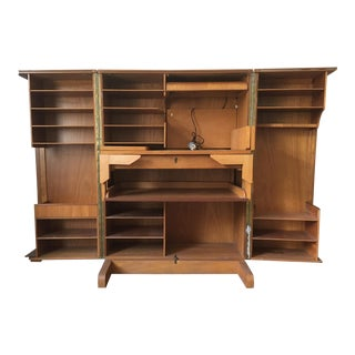 "Mid-Century Maple & Oak Foldable ""Magic Box"" Cabinet Desk"