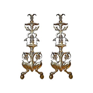 Andirons - Pair of Antique English Brass Fireplace Andirons